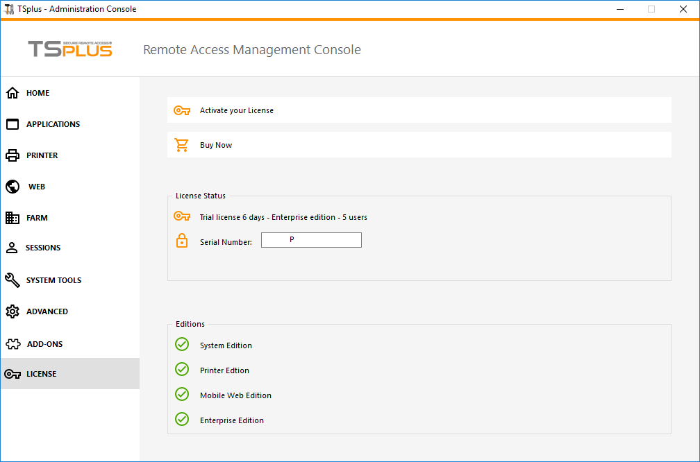 Admin Tool License Screen