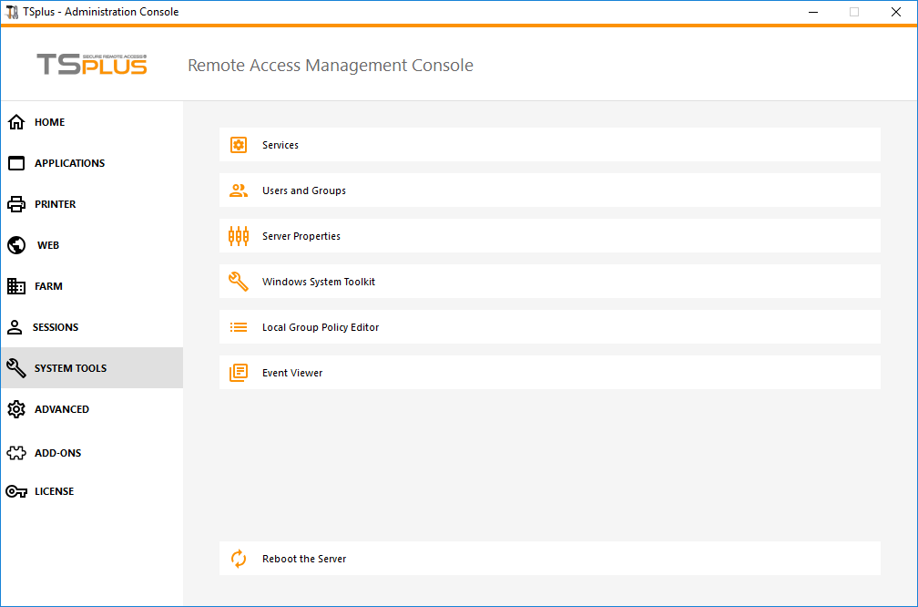 Admin Tool Web Screen